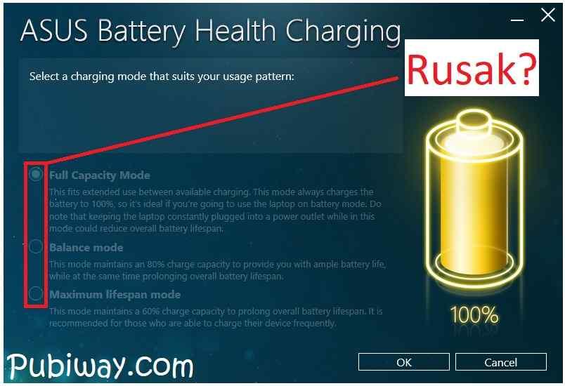Solusi Mengatasi Aplikasi ASUS Battery Health Charging tidak bisa memilih Mode