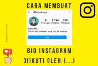 Membuat Bio Instagram diikuti oleh