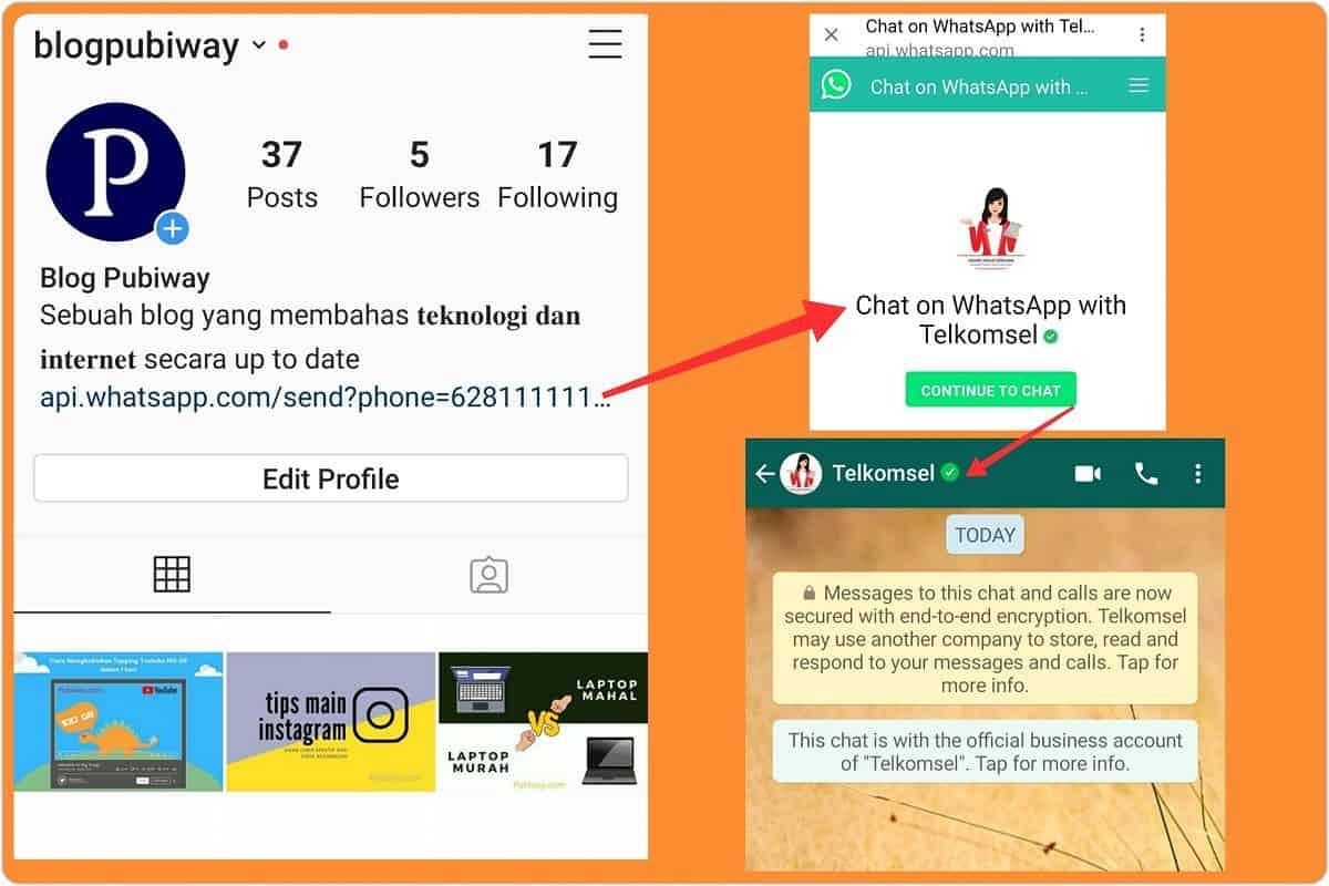 Cara Memasang Link WA di Instagram