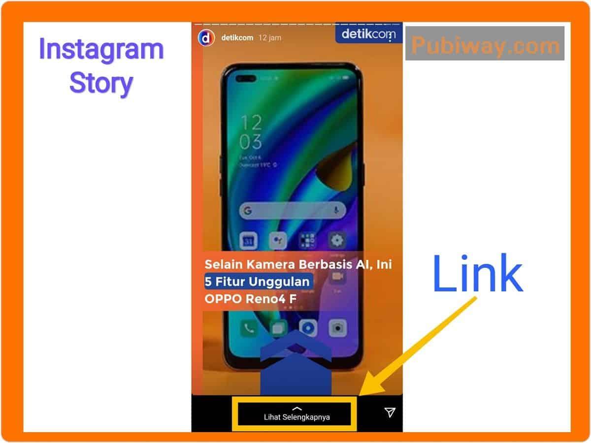 Membuat Link Website Melalui Insta Story