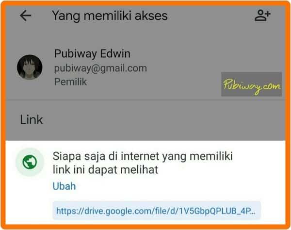 Link file sudah bisa diakses publik