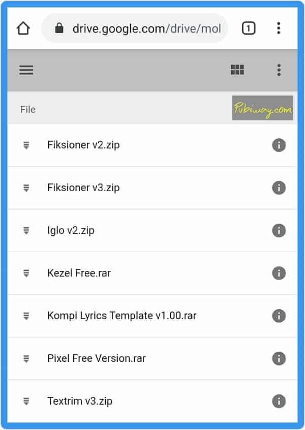 Tampilan link folder google drive dari browser smartphone