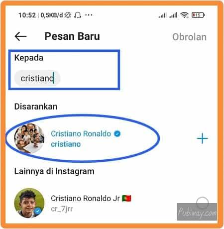 Mengetik nama pengguna instagram