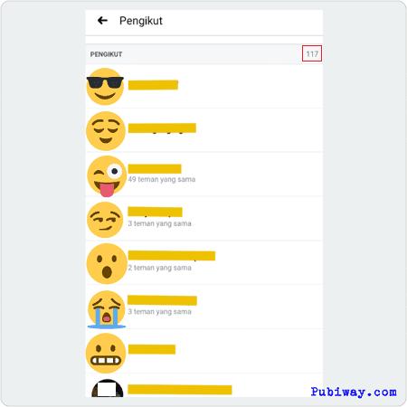 Daftar Orang yang Mengikuti kita di facebook