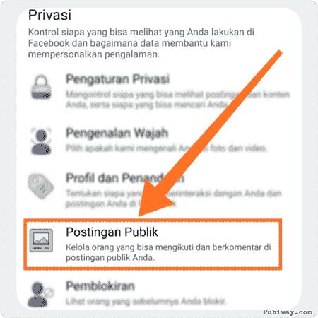 Klik pengaturan Postingan Publik