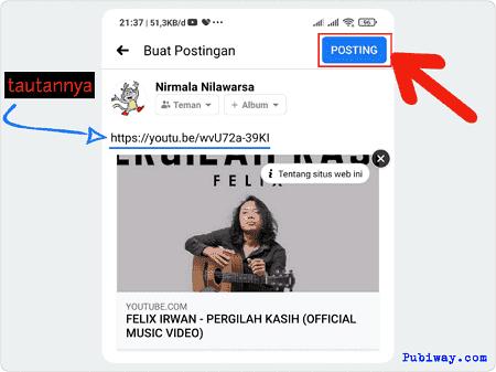 Masukkan tautan di kolom update status kemudian klik tombol posting