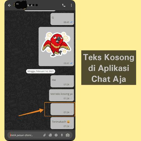 Blank Text di Aplikasi ChatAja