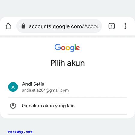 Pilih akun google yang ingin dipakai