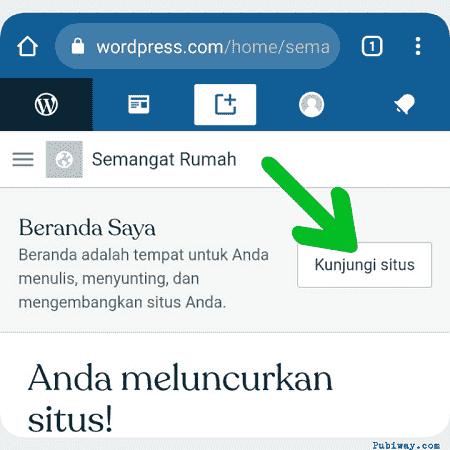 buka blognya dengan mengklik tombol Kunjungi Situs