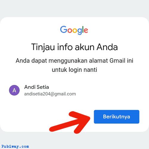 Tinjau info akun anda, dan klik berikutnya
