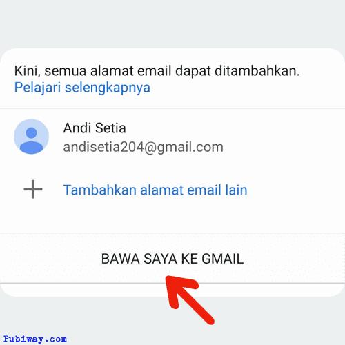 Masuk ke aplikasi gmail dan klik tombol bawa saya ke gmail