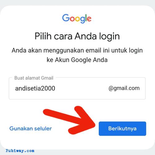 Tentukan alamat email yang anda inginkan