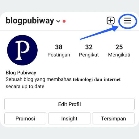 Klik 3 garis sejajar di pojok kanan profile instagram