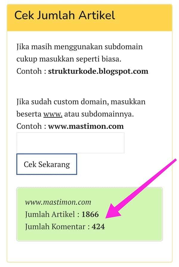 Tools Cek Jumlah Artikel Blogspot